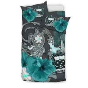 Samoa Bedding Set - Hibiscus Turtle Tribal Turquoise A02