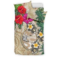 Guam Bedding Set - Hibiscus Turtle Tattoo Beige A02