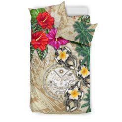 Marshall Islands Bedding Set - Hibiscus Turtle Tattoo Beige A02