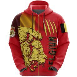 Belgium Zip-Up Hoodie Lion, Belgium Zipper Hoodie Flag TH5