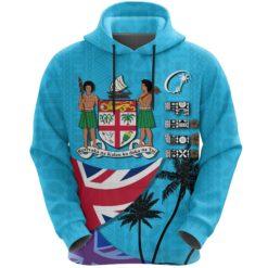 Fiji Masi Hoodie Coat of Arms Coconut Blue K4