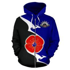 1stTheWorld Australia Anzac Zip Up Hoodie - Lest We Forget Poppy Map Kangaroo Blue K4