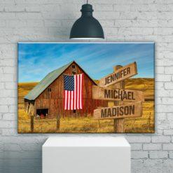 American Barn Color Multi-Names Premium Canvas