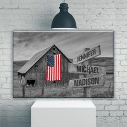 American Barn Multi-Names Premium Canvas