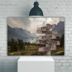 Mountain Range Color Multi-Names Premium Canvas