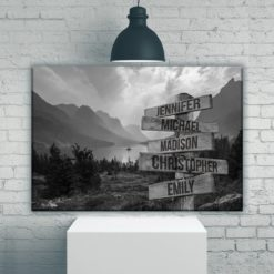 Mountain Range Multi-Names Premium Canvas