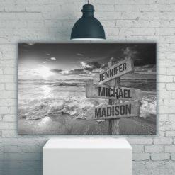 Ocean Sunset Multi-Names Premium Canvas
