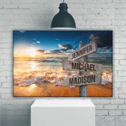Ocean Sunset Color Multi-Names Premium Canvas